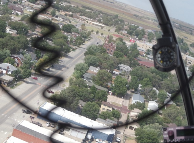 My first helicopter ride. Hoisington, Kansas.