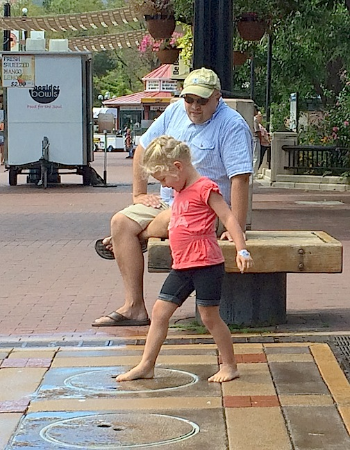 Mini splash park, Pearl Street mall, Boulder, Colorado