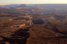 Grand View Point, Canyonlands. The confluence of the Green River (seen here) with the Colorado River is several miles south.