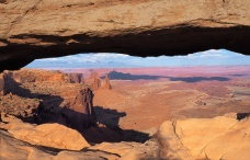Mesa Arch, Canyonlands, with a view of the La Sal Mountains.
