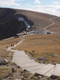 "View down ""Huffers Hill"" to the Alpine Visitors Center"