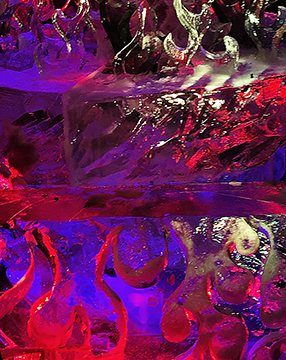 Closeup crop of ice sculpture