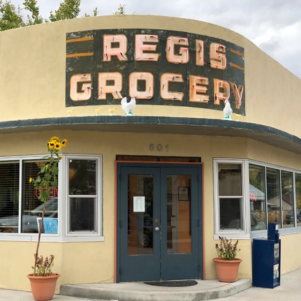 The Regis Café is located in the old Regis Grocery building in Red Lodge, Montana