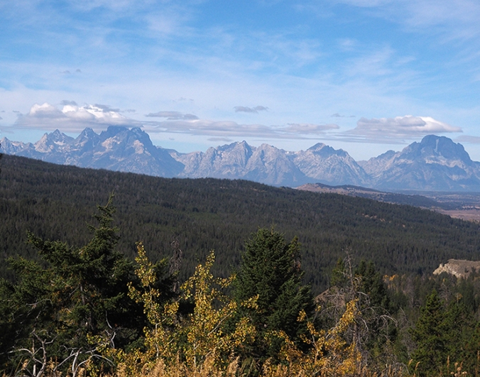 Distant view of Tetons