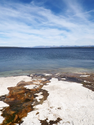 Geyser runoff meets Yellowstone Lake
